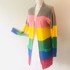 🌈Multi-colored open cardigan